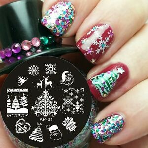 PIASTRA-NATALE-CHRISTMAS-SNOW-NAIL-ART-stamping-PLATE-manicure-STENCIL-template