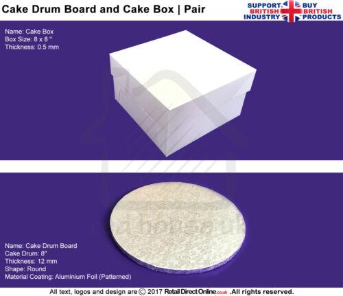 "Lid Round Cake Drum Board8/""x 8/""Premium Quality ComboCake Box"
