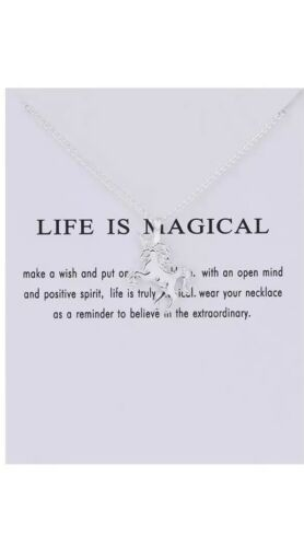 Silver or Gold coloured Unicorn Necklace Pendant Charm in Packaging