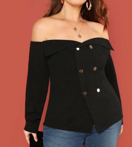 Plus Size Off the Shoulder Long Sleeve Buttons Front Elegant Blouse Top Casual