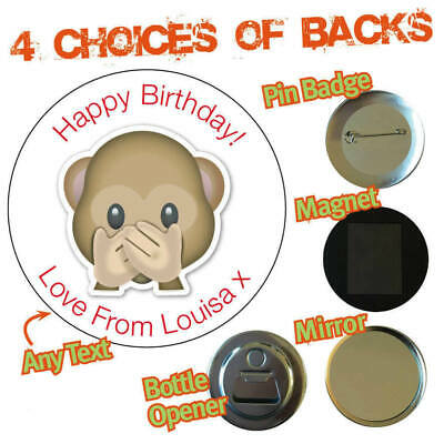 Personalised Birthday Party Stickers Badges Sweet Cone Cake Monkey Emoji 659