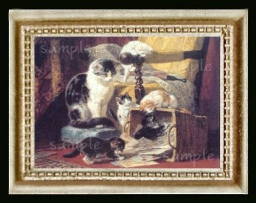 Mother Cat Watching Kittens Miniature Dollhouse Picture