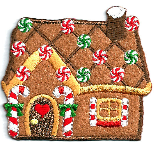 Gingerbread House Iron On Applique ~ Covered In Holiday Embroidered Goodies ~