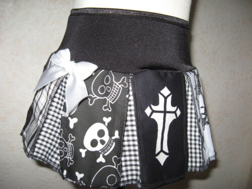NEW Gothic Black White Grey skulls barbed wire cross Tartan pleated Skirt Party
