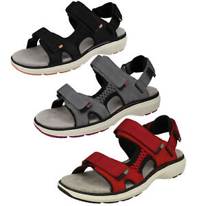 fa5159394e51 Image is loading LADIES-CLARKS-UNSTRUCTURED-LEATHER-OPEN-TOE-SPORTS-SANDALS-