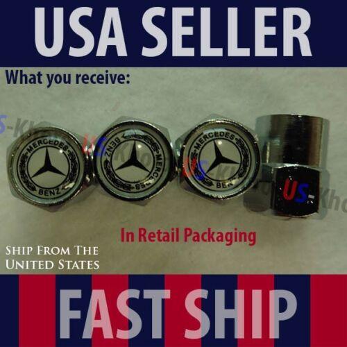 Mercedes Benz Logo Valve Stem Caps Covers Silver Chromed Roundel Emblem Tire MB