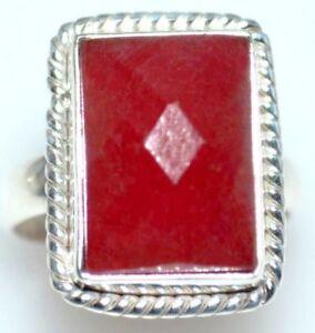 Ruby-Red-Jade-Plata-De-Ley-Anillos-Facetado-Anillo-de-piedras-preciosas-925-tamanos-L-5-12-y-1-2-a