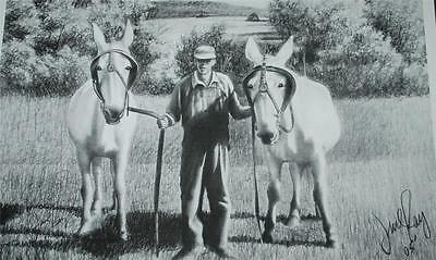 SIGNED LITHOGRAPH JESSE RAY LANDSCAPE TWO HORSES PENCIL SKETCH 2005 SS2