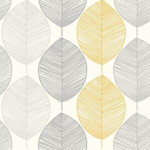 Arthouse Scandi Leaf Wallpaper Yellow Grey Glitter Retro