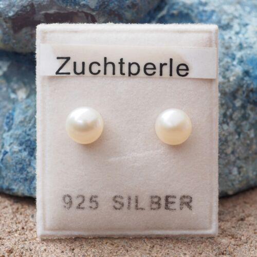 Neu 925 Silber OHRSTECKER 6mm ZUCHTPERLEN//SÜßWASSERPERLEN weiß OHRRINGE halbrund