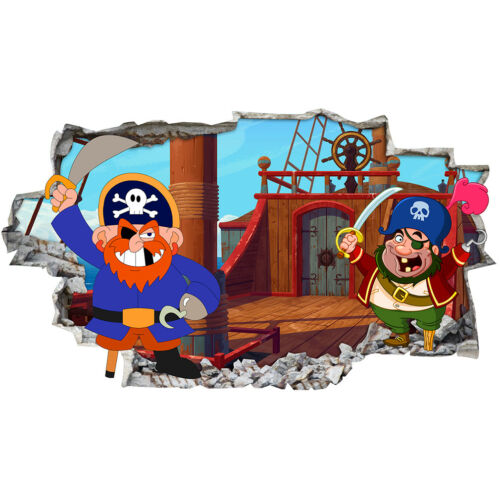 Wall Stickers Pirates Ship Kids Cartoon Smashed Decal 3D Art Vinyl Room BB712