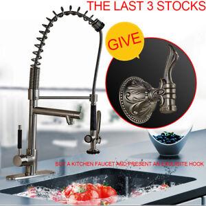 Kitchen-Faucet-Brass-Nickel-Brushed-LED-Spout-Vessel-Sink-Mixer-Tap-amp-Hook