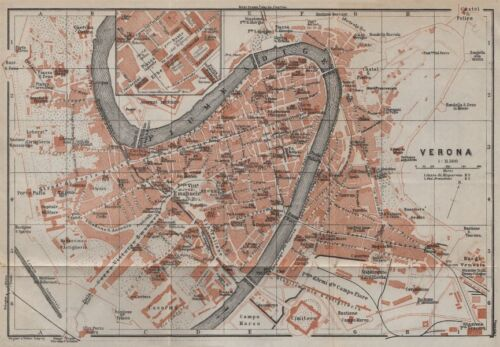 BAEDEKER 1913 VERONA antique town city plan piano urbanistico Italy mappa