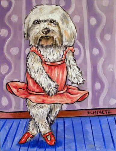 maltese ballerina ballet animal DOG art PRINT abstract folk pop ART JSCHMETZ
