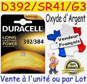 Piles-boutons-D392-SR41W-G3-DURACELL-Oxyde-Argent-Montre-Horlogerie-Bijouterie