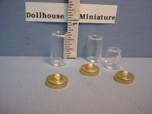3pc Miniature Jar Set wi Lids #HB078Bright Delights 1//12th Scale