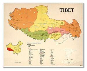 China Map Poster.Huge 24 X 30 Tibet China Political Map Circa 1969 Vintage Reprint