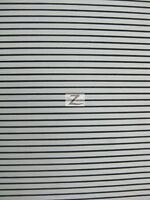 Poly Cotton 1/8 Small Stripe Fabric - White/black - 58/59 W Polycotton P264