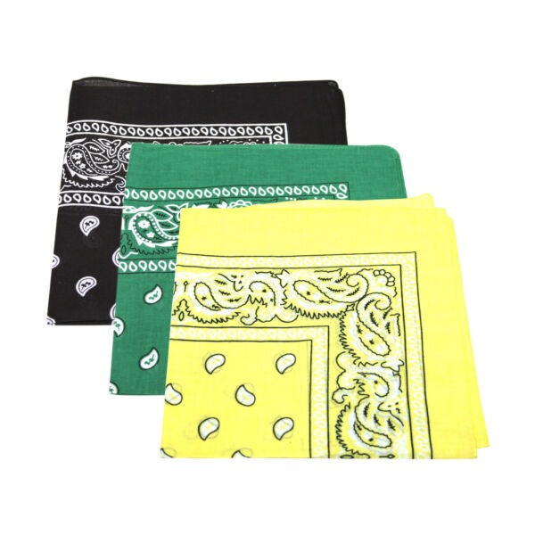 3 X Patrón De Paisley Bandana Cabeza / Cuello Bufanda 100% Algodón (amarillo, Verde, Negro)-ver