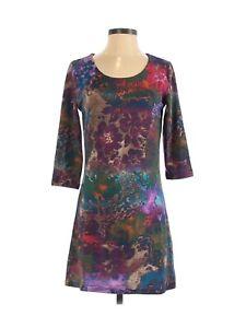 NWOT $89 Papillon Women's Multicolor Scoop Neck 3/4 Sleeve Casual Dress Size S