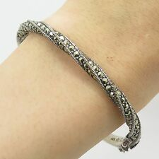 Judith Jack Sterling Silver Real Marcasite Gemstone Twisted Bangle Bracelet 7""