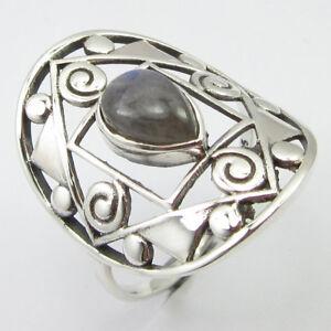Rainbow-Moonstone-Ring-Sz-8-75-New-Wholesale-Jewelry-925-Pure-Silver