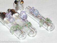 1 Small PINK Tulip Rose Flower Glass urn rice vial charm pendant fairy Bottle