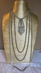 Vtg-Statement-Crystal-Rhinestone-Long-Multi-Necklace-70s-Waterfall-Sparkle