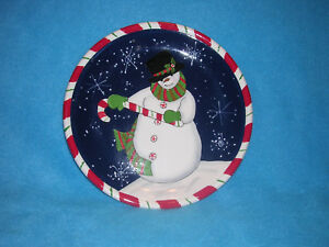 Certified International Snowman with Top Hat and Candy Cane Plate ...