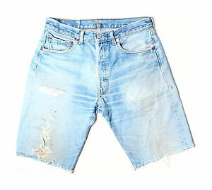 Levis-Vintage-501-Blue-Distressed-Ripped-Denim-Shorts-W32-S