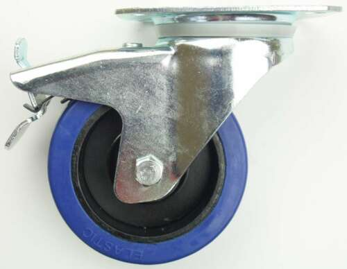 1 Set 100 mm SL Rollen Transportrollen Bockrollen Blue Wheels Schwerlast BREMSE