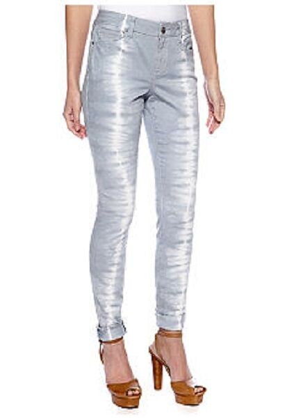DKNY  Hippy Trail  Bay Breeze Silber Tie-Dye Stretch Denim Skinny Jeans -  90
