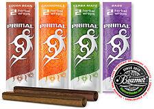 6 Packs of 2 - Variety Primal Herbal Wraps. Non Tobacco Non Nicotine. 4 Smoking
