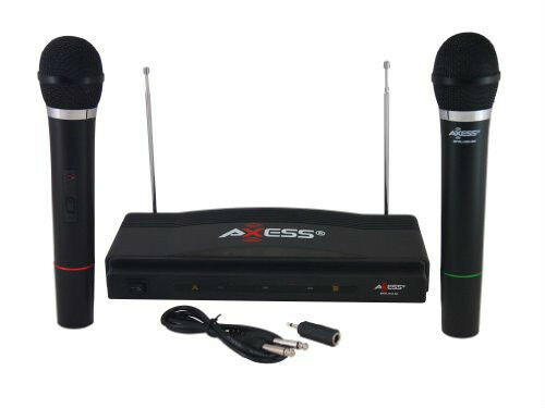 Axess MPWL1505 Dual Professional Handheld Wireless Microphone  FM Receiver New