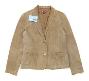 Monsoon-Womens-Size-10-Brown-Leather-Blend-Suit-Jacket-Regular