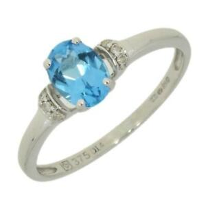 9ct-White-Gold-Dress-Ring-Diamond-And-Blue-Topaz-CH872