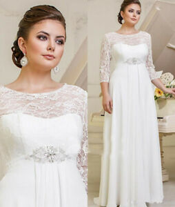 Details about Plus Size Wedding Dresses A-line Bridal Gowns 3/4 Sleeve 8 10  12 14 16 18 20 22