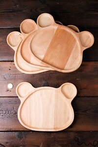 Set-4-Wooden-Bear-Shaped-Plates-Natural-Wooden-Bear-Plate-Serving-Tray-Handmade