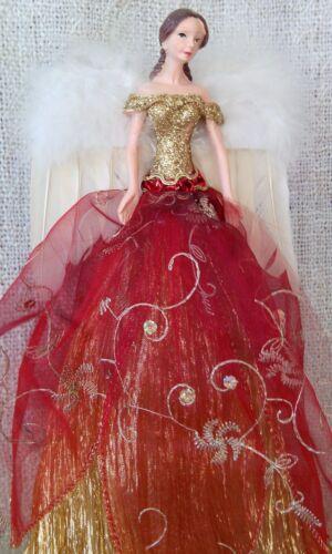 Arbre de Noël haut fée ange rouge foncé /& Or Plume Ailes Élégante Fairy