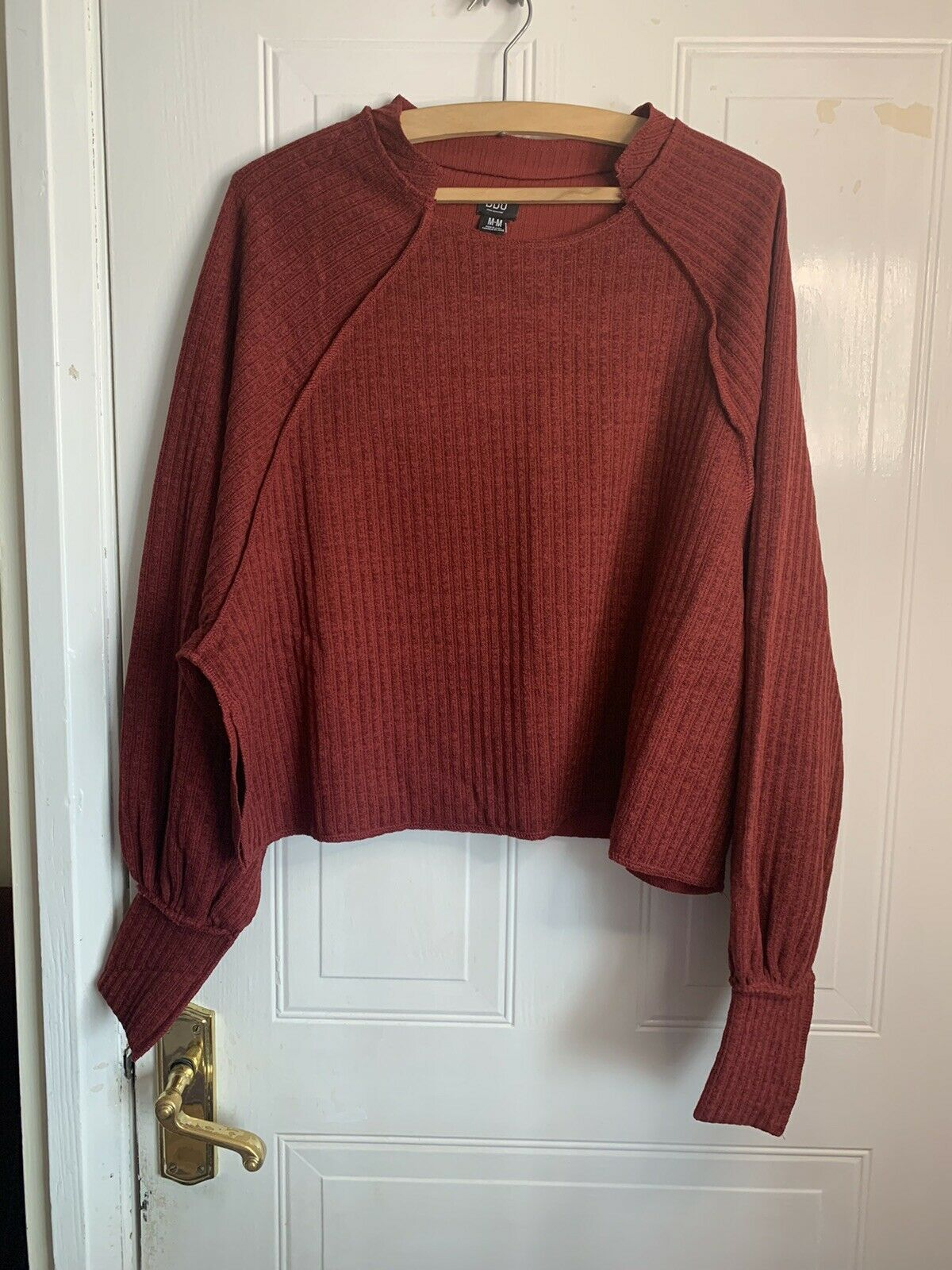 Urban Outfitters BDG Grayson Cut Crew Neck Crop Jumper Wine/red Size M RP