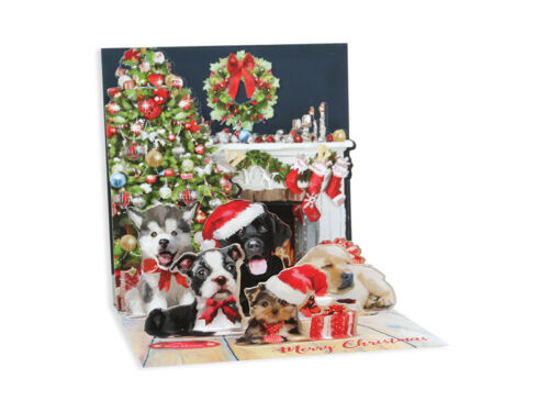 """Up With Paper /""""Christmas Puppies/"""" 3D Pop-up Christmas Card"""