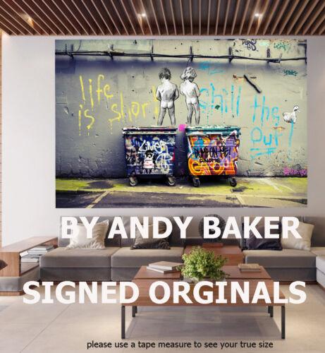 Original Canvas Street Art Print Life Is Short Chill Duck Out not Banksy Framed