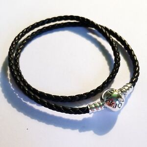 4822bcda7 Image is loading GENUINE-PANDORA-Double-Woven-Black-Leather-Bracelet -590745CBK-