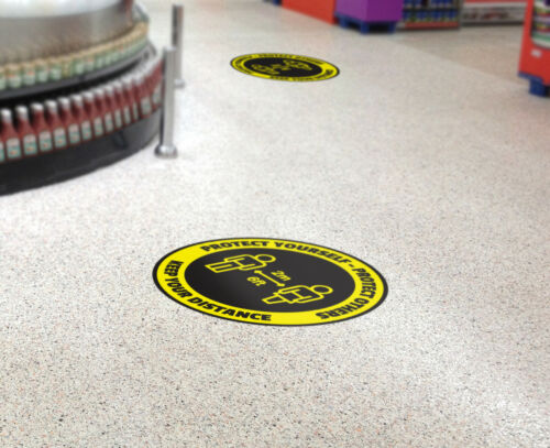 Anti-slip Shop Office Floor Window Pack of 5 400mm Social distancing Stickers