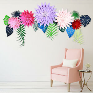 Details About Diy Crafts Paper Flowers Leaves Backdrop Decor For Kids Birthday Party Wedding