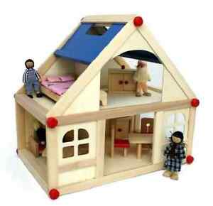 Image Is Loading Wooden Dolls House With Furniture And Doll Family