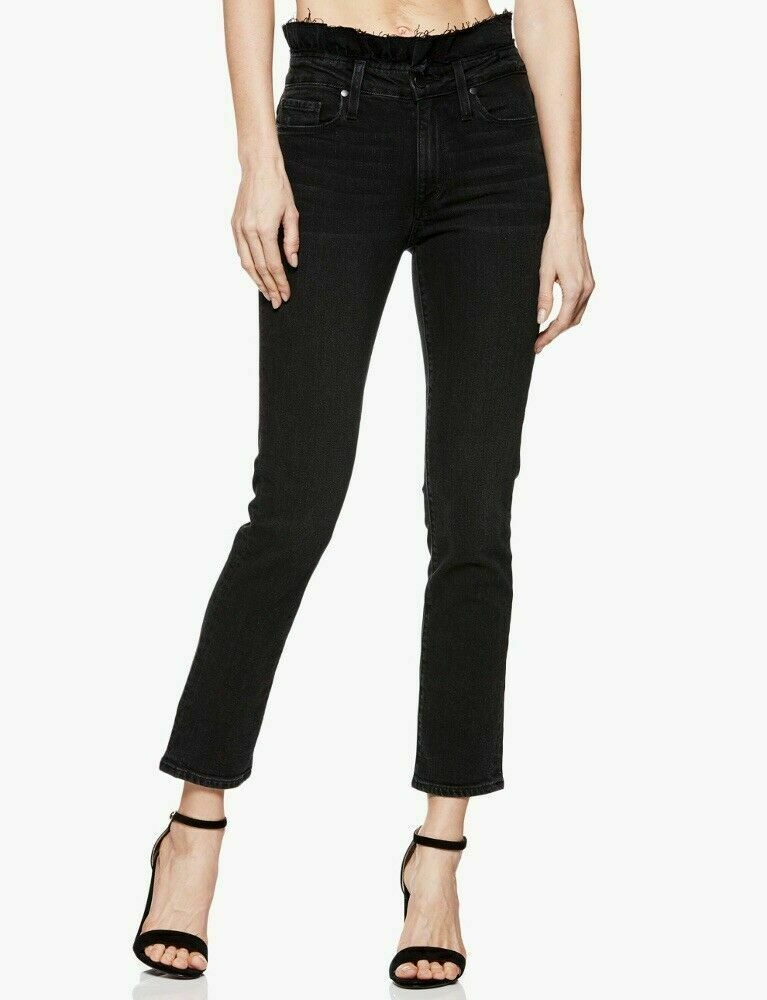 NWT NEW PAIGE Women's Hoxton Straight Ankle High Waist Jeans in Vintage black 26