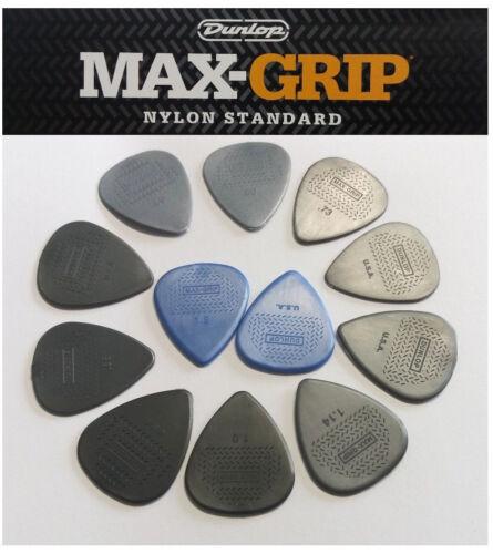 Plectren Dunlop Nylon Max Grip Set von 12 Stück alle Stärken Gitarrenplectrum