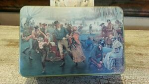 Rectangular-Metal-Tin-with-Ice-Skaters-frolicking-signed-T-CATHEY-BI-STAR-1992