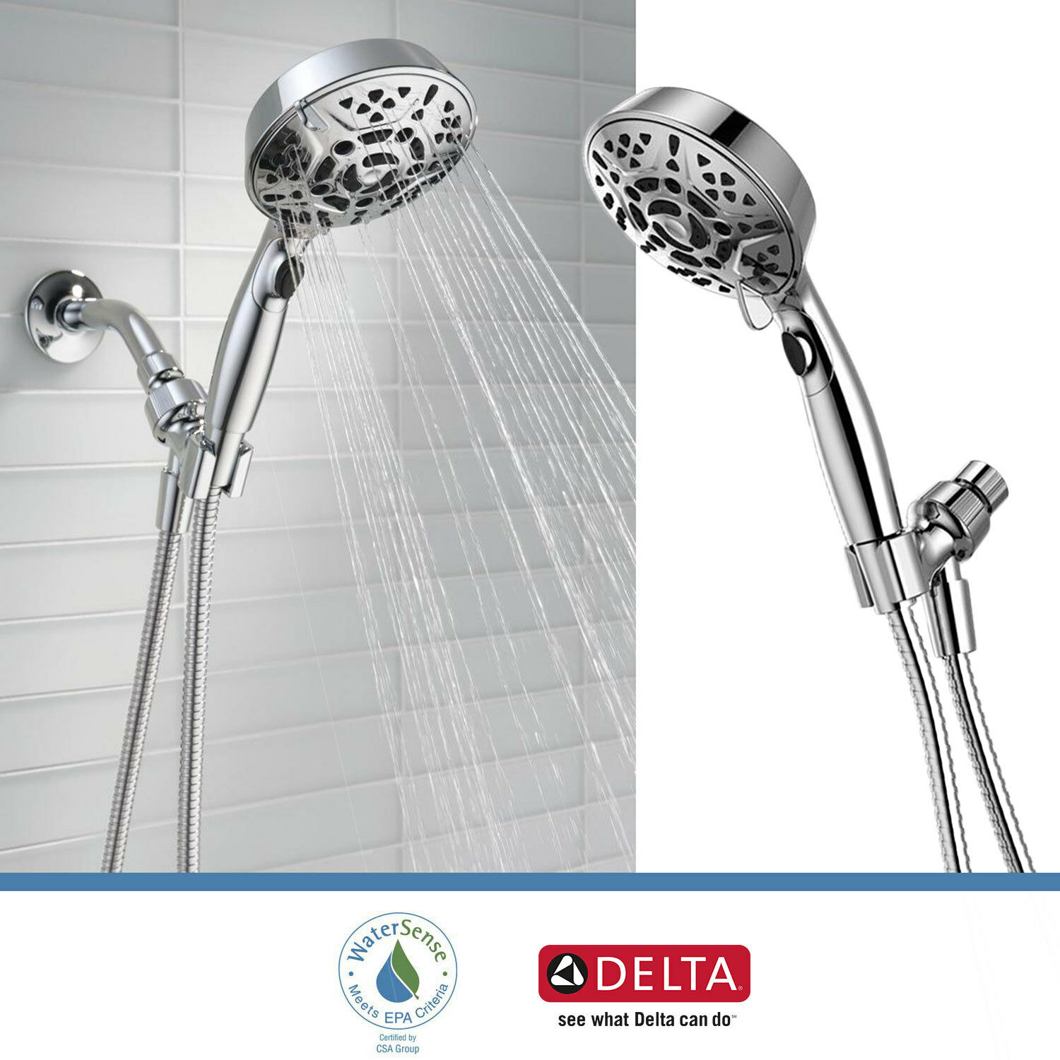 Delta Faucet 7 Spray Handheld Shower Head With H2okinetic Touch Clean Chrome